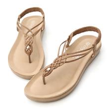 交叉編織串珠夾腳涼鞋
