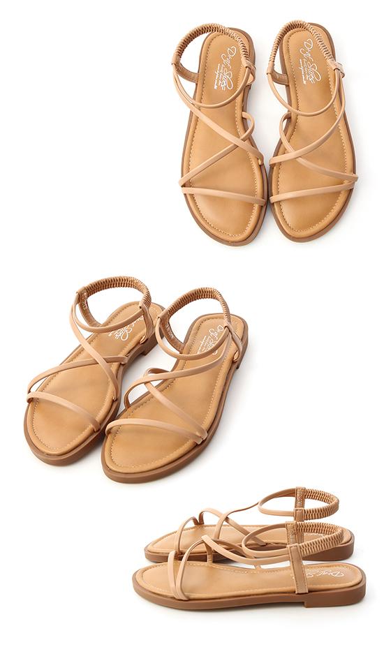 Strappy Flat Sandals Beige