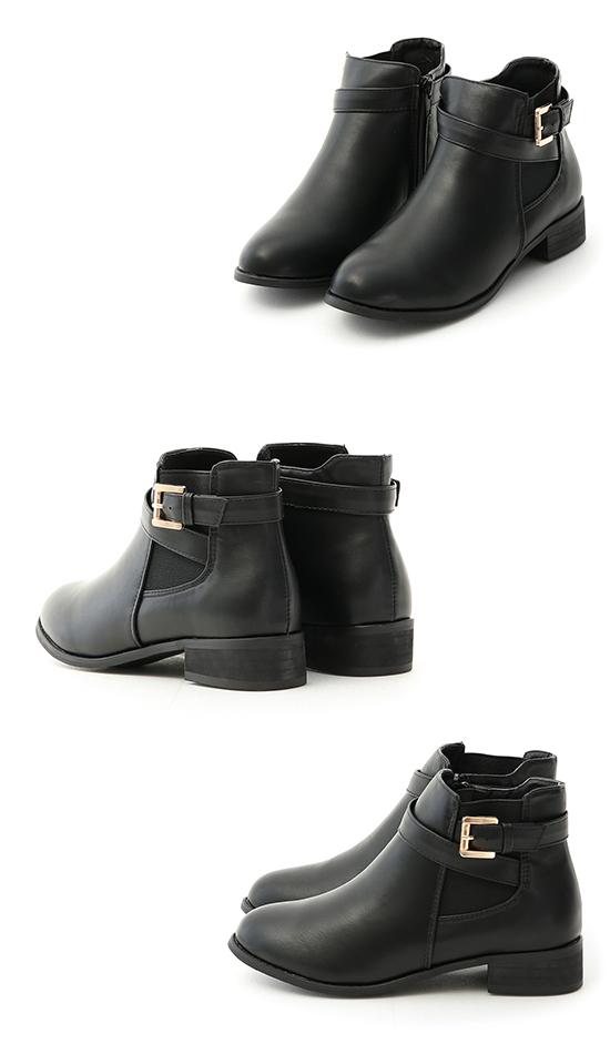 Metal Buckle Strap Chelsea Boots Black