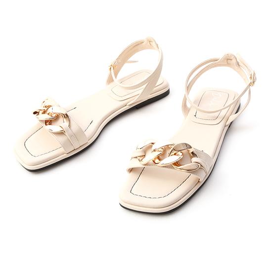輕奢品味.金屬環釦一字平底涼鞋 香草米