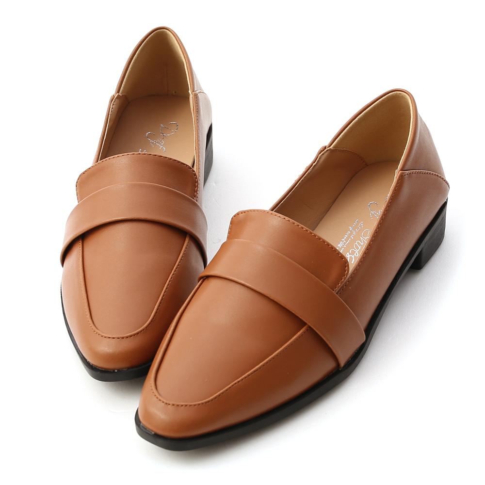 D+AF 簡約品格.可後踩尖頭樂福鞋