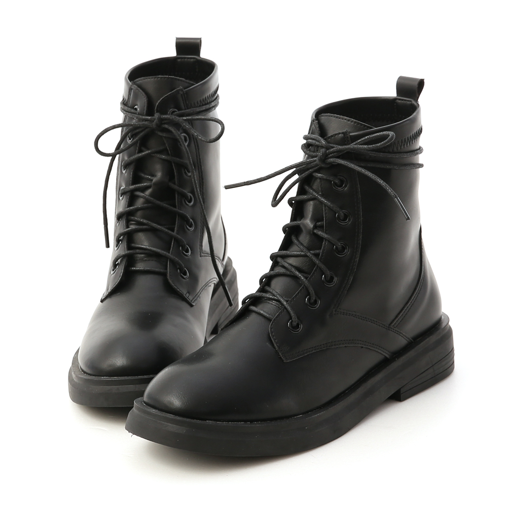 Lace-Up Short Martin Boots Black