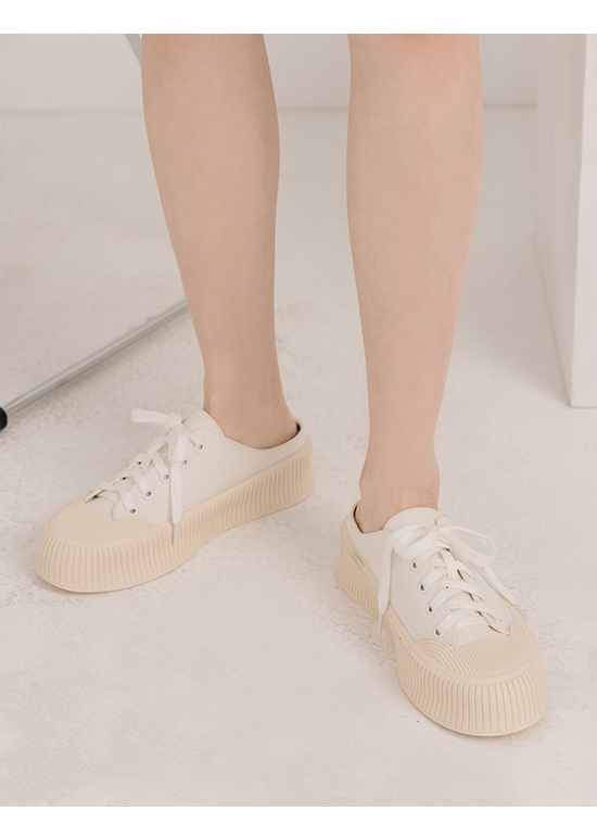 Thick Sole Canvas Mules Sneakers White
