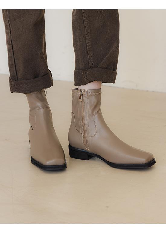 極度顯瘦.素面剪裁方頭低跟襪靴 摩卡灰