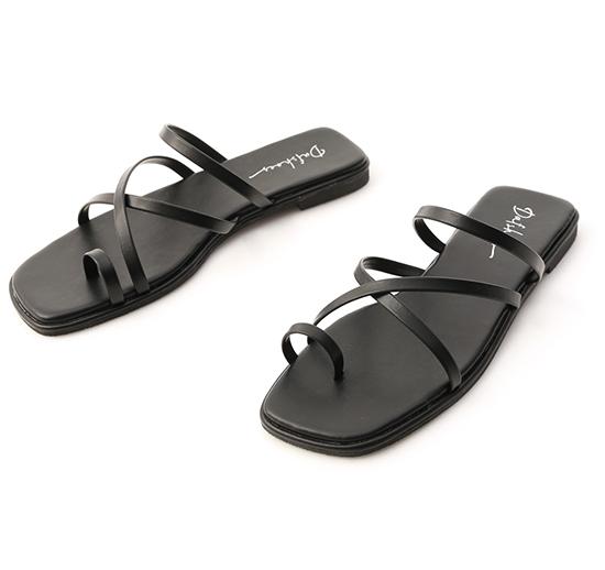 涼感假期.交叉細帶套指平底涼鞋 經典黑