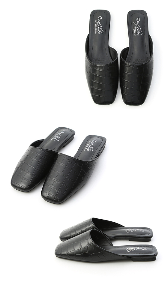 Embossed Faux Leather Square Toe Mules Black