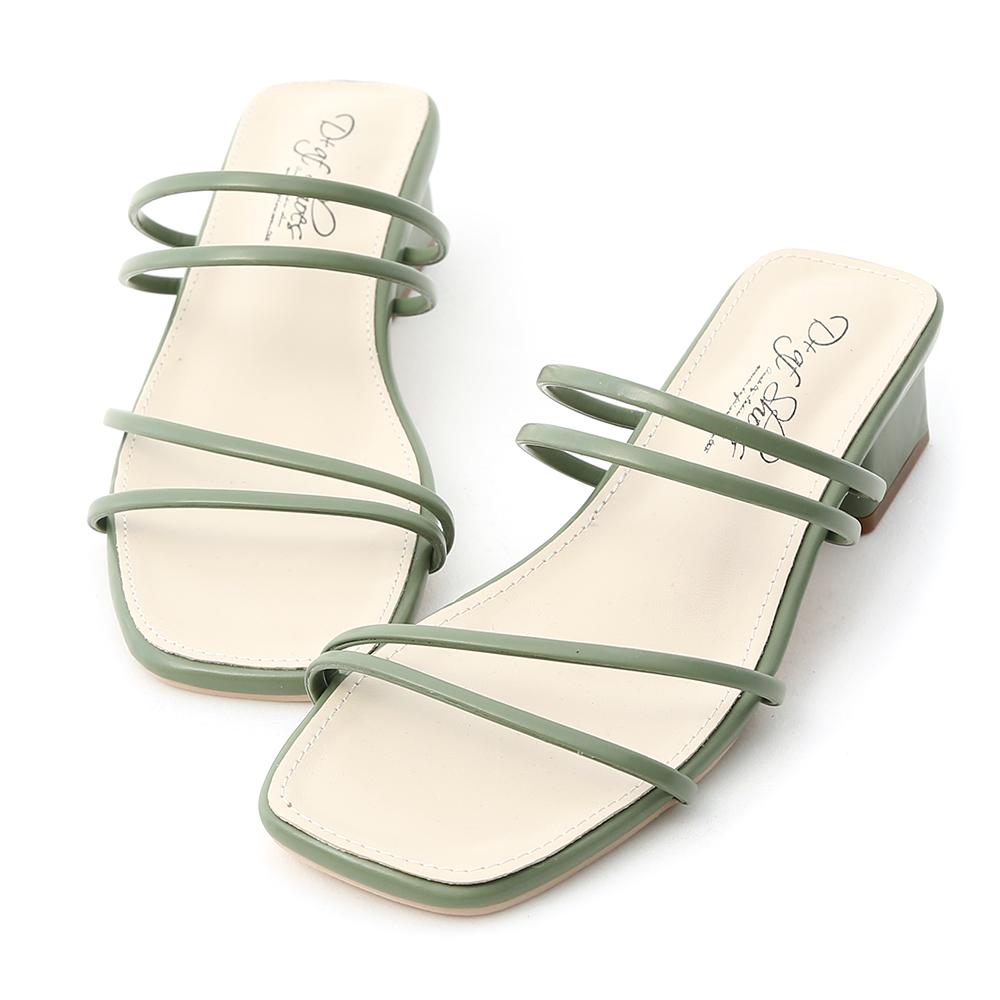 清新優雅.二穿法細帶方頭低跟涼鞋 薄荷綠