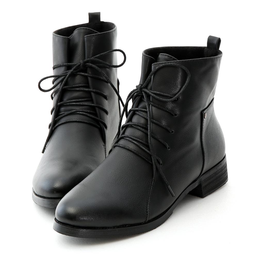 漸層烤色軍風綁帶短靴