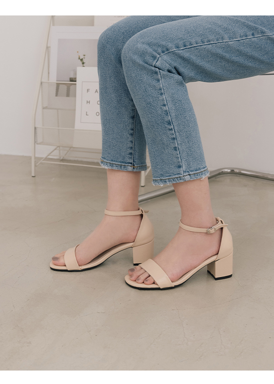 MIT Square Toe Ankle Strap Mid Heel Sandals Almond