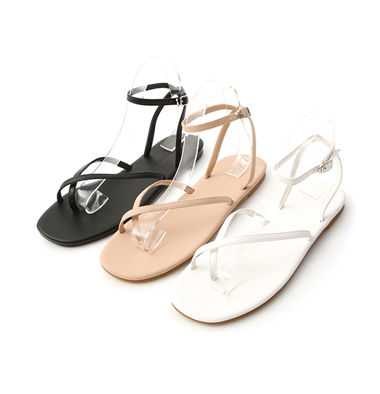 Thin Cross Strap Sandals Almond