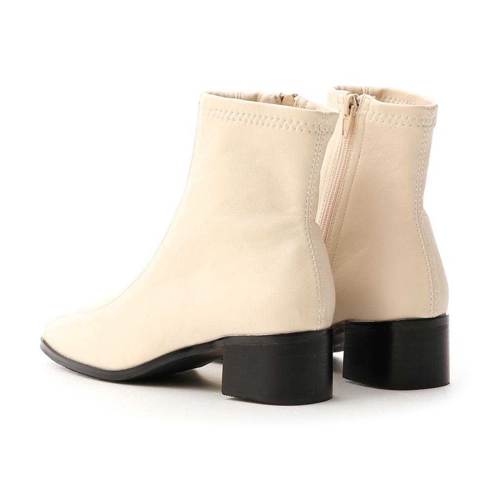 Seam Line Detail Sock Boots French Vanilla White