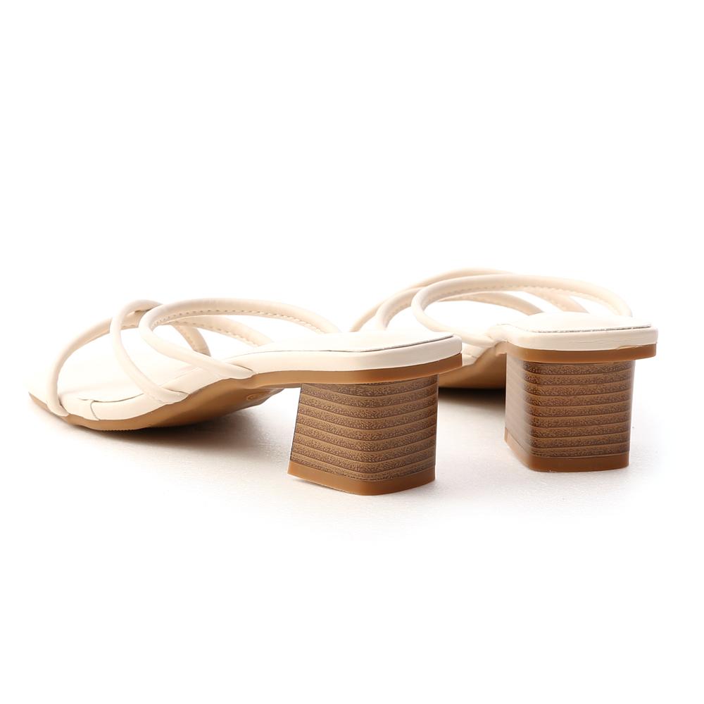 清新歐膩.交叉細帶木紋跟涼拖鞋 アイボリー