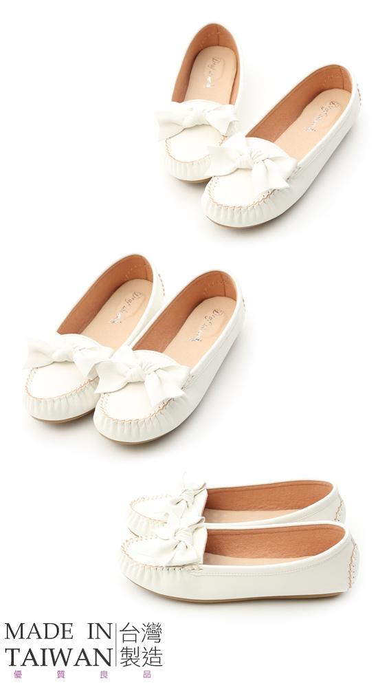 Bow Tie Moccasins White