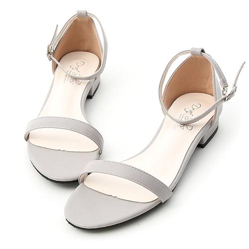 D+AF 簡約美學.一字繫踝低跟涼鞋
