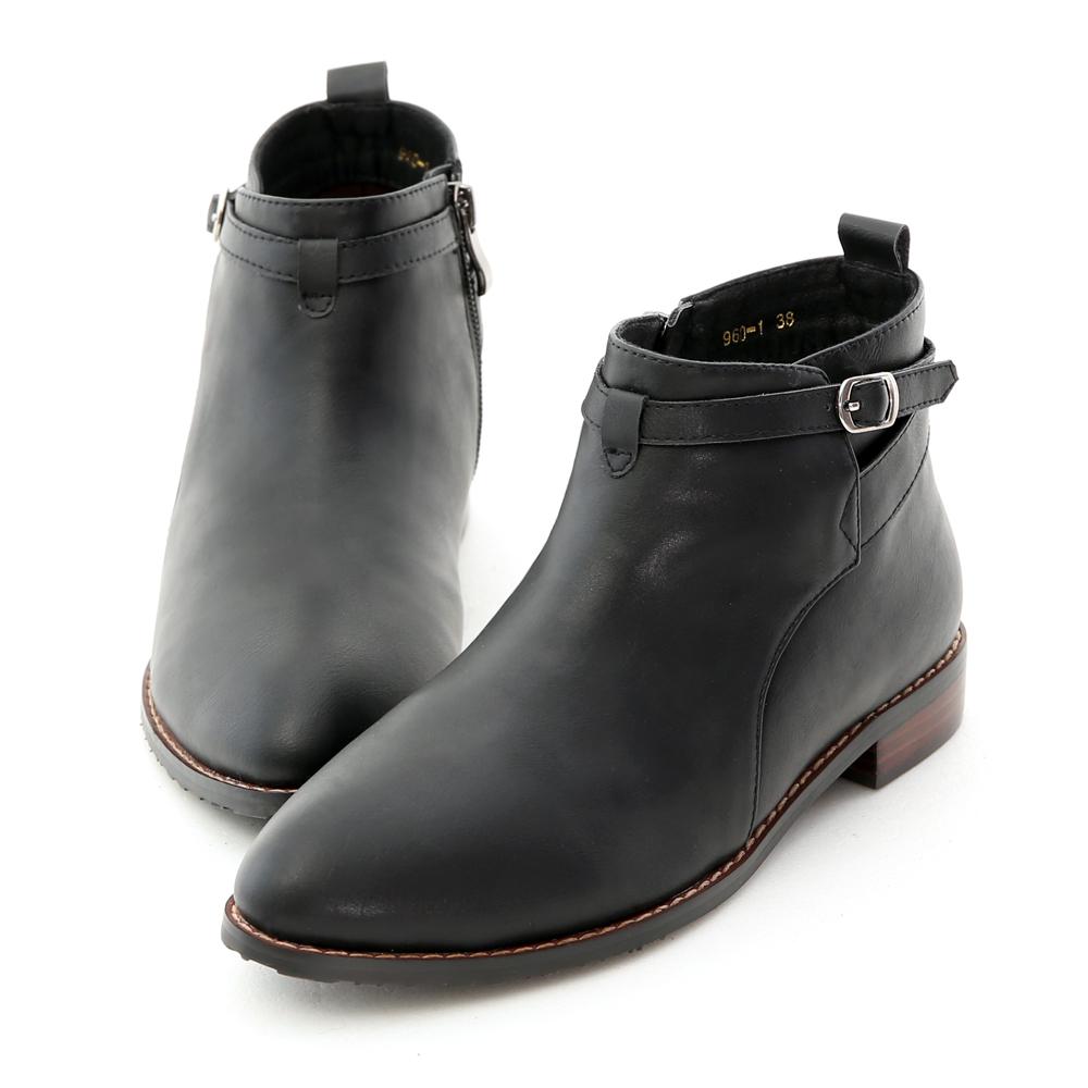交叉側釦踝平底及踝短靴