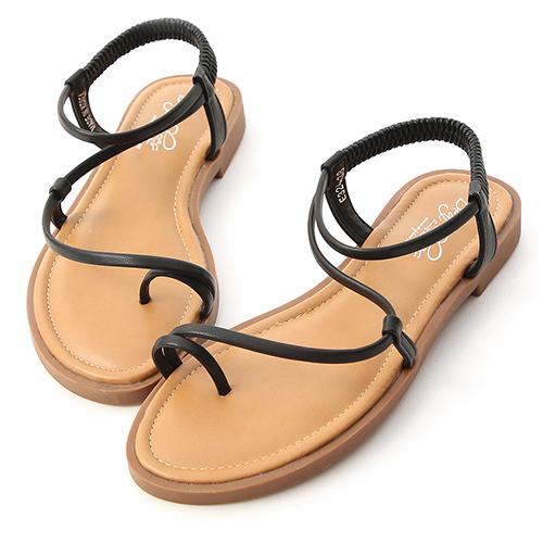 清爽夏氛.彎彎曲線套指平底涼鞋