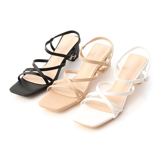 Thin Strap Mid Heel Sandals Black