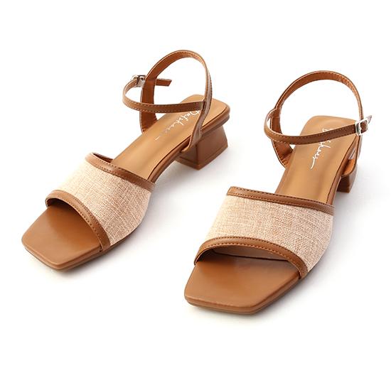 南法風情.亞麻布拼接低跟涼鞋 焦糖棕