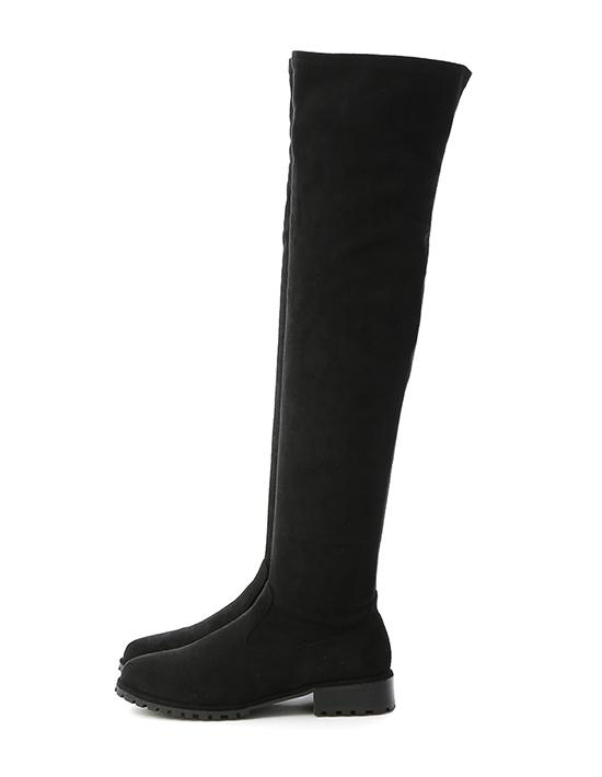 微辣焦點.激瘦剪裁美腿膝上長靴 質感黑絨