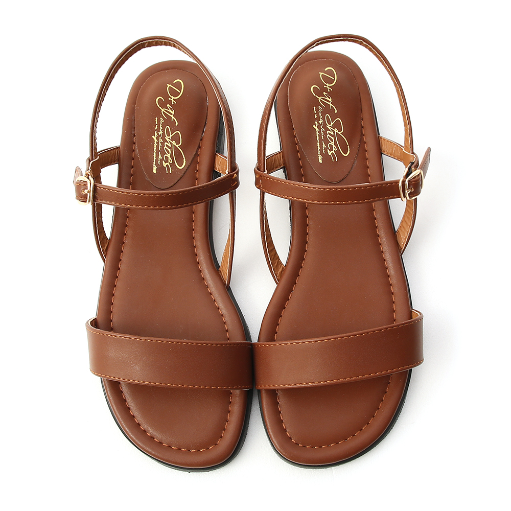 自信漫步.一字寬版繫帶平底涼鞋 焦糖棕