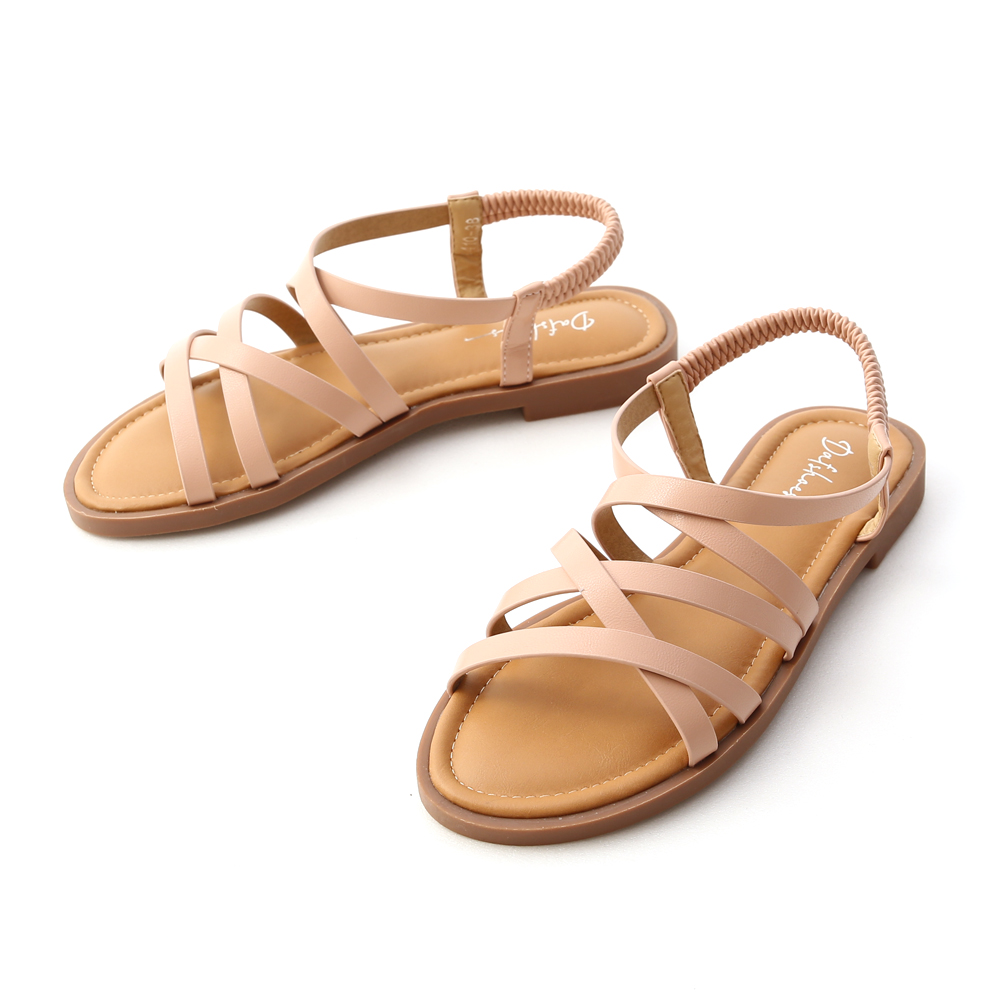 Soft Faux Leather Cross Straps Sandals Nude pink