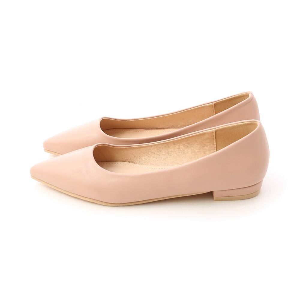 典雅氛圍.韓風素面低跟尖頭鞋 裸膚粉