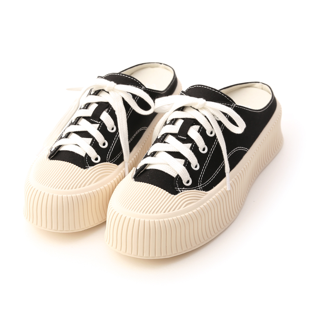 Thick Sole Canvas Mules Sneakers Black