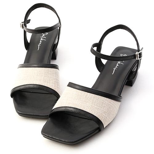 南法風情.亞麻布拼接低跟涼鞋