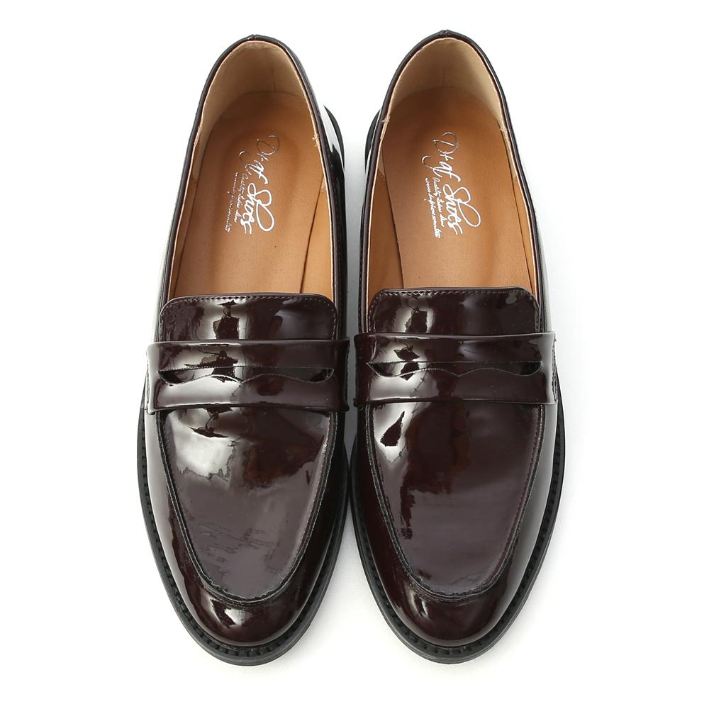 英倫年代.經典款漆皮紳士樂福鞋 復古酒紅