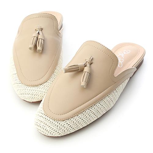涼感氛圍.草編拼接小流蘇穆勒鞋