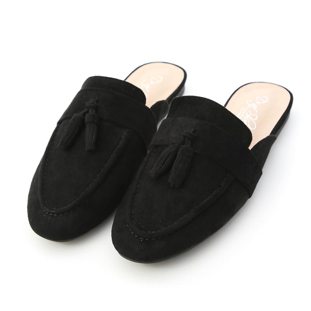 自在格調.小流蘇絨料平底穆勒鞋 時尚黑