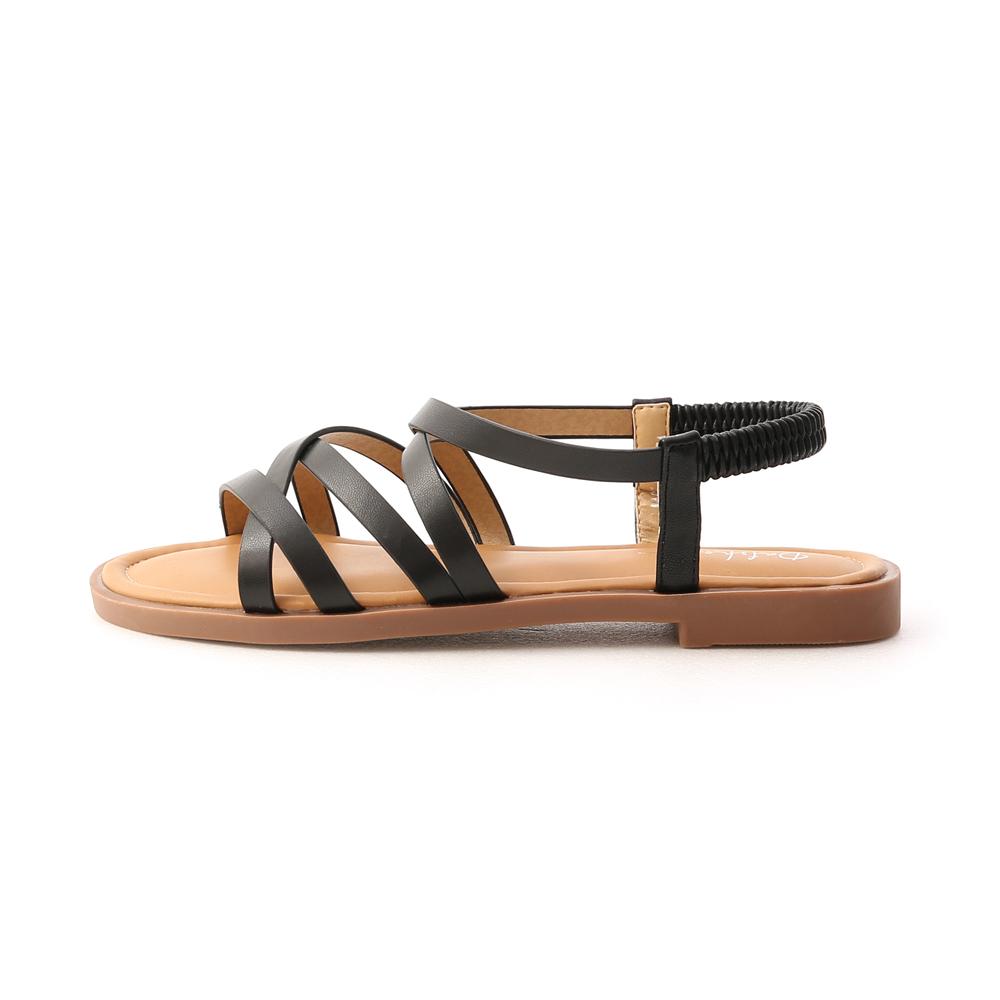 Soft Faux Leather Cross Straps Sandals Black
