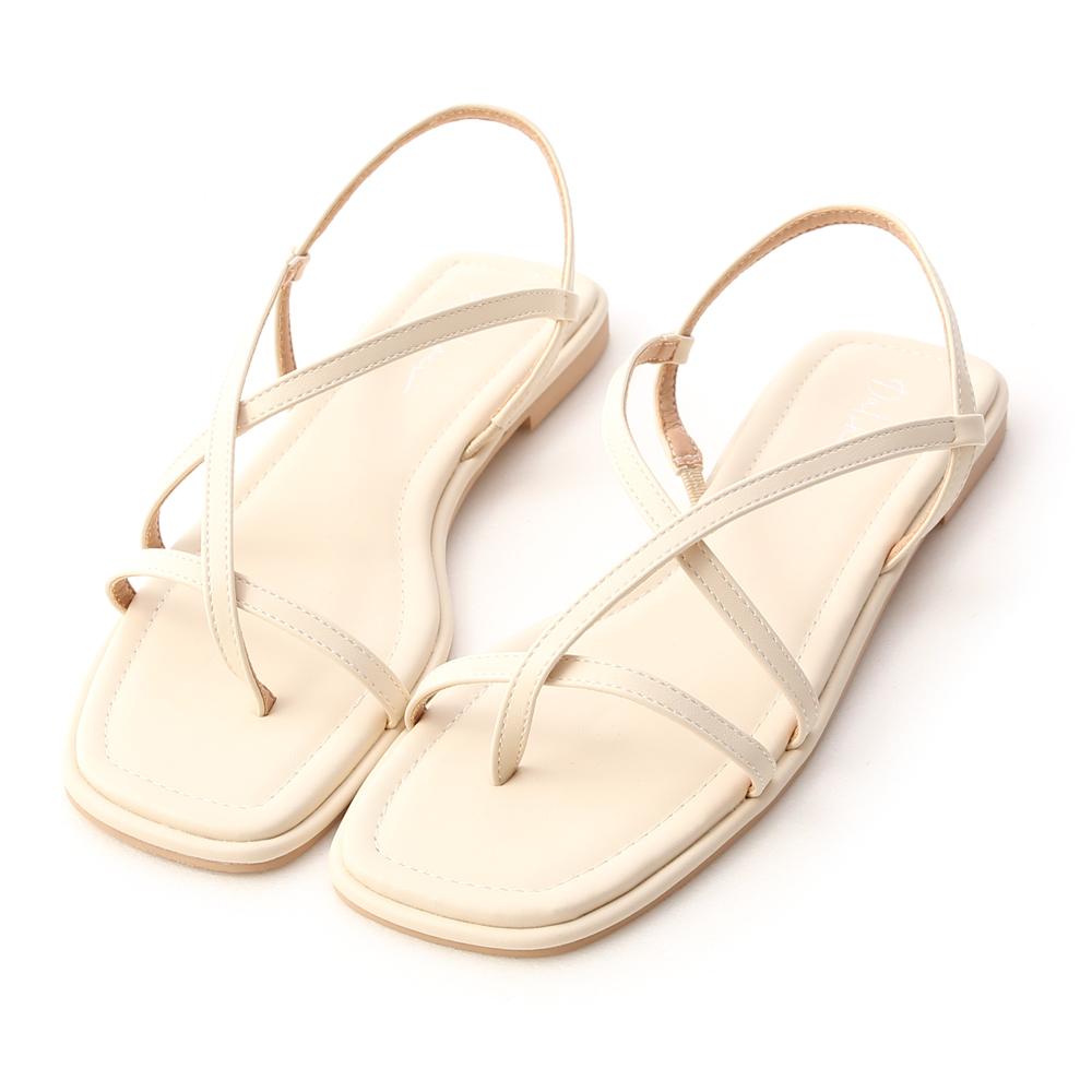 Toe Loop Flats Sandals French Vanilla White