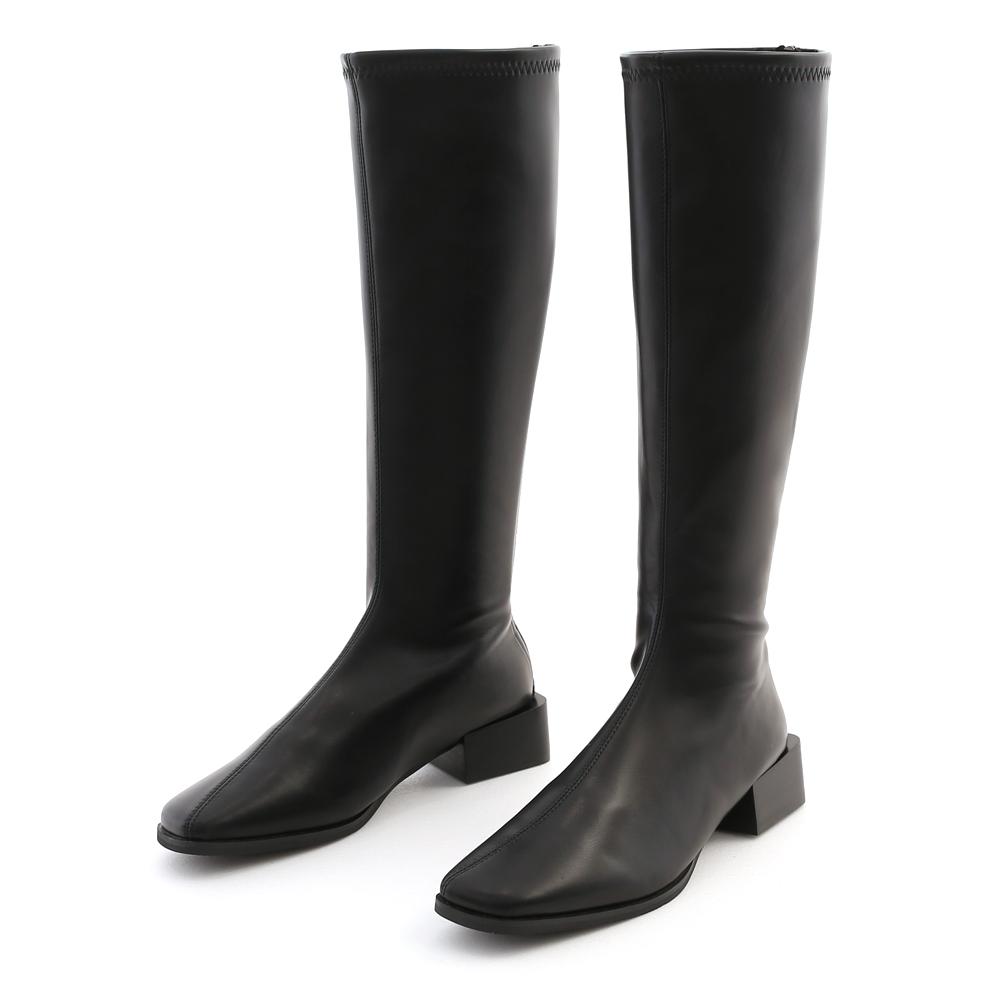 明星單品.斜車線方頭積木跟長靴 時尚黑