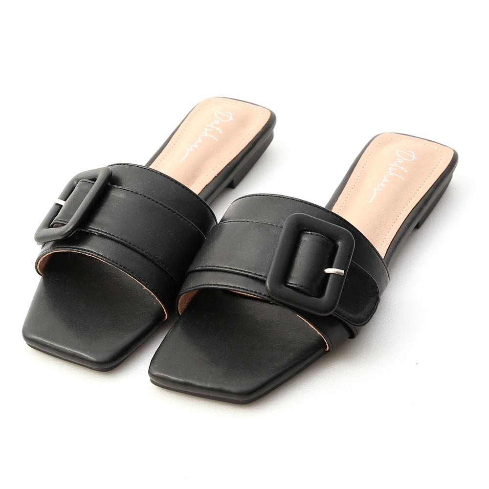 夏日悠遊.大方釦方頭平底拖鞋 時尚黑