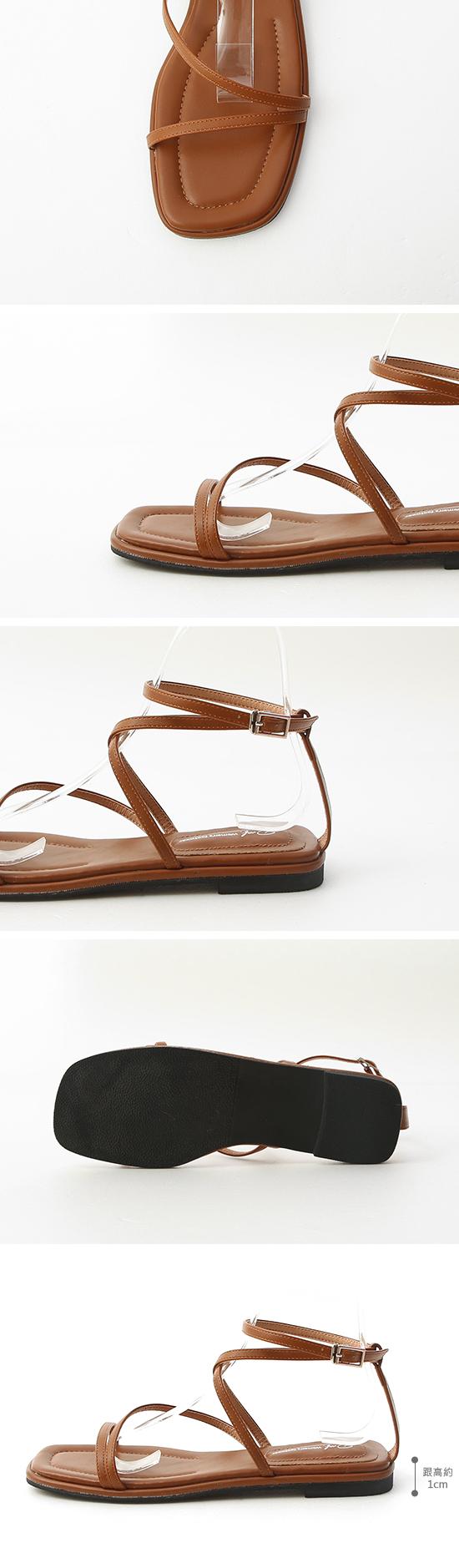 Square Toe Greek Sandals Brown