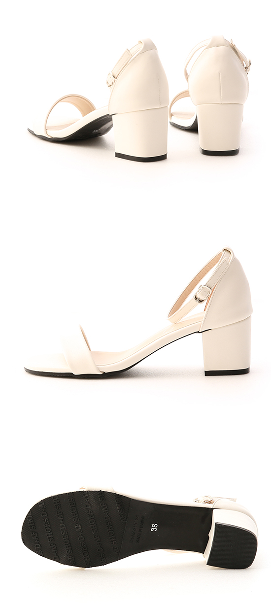 MIT Square Toe Ankle Strap Mid Heel Sandals White