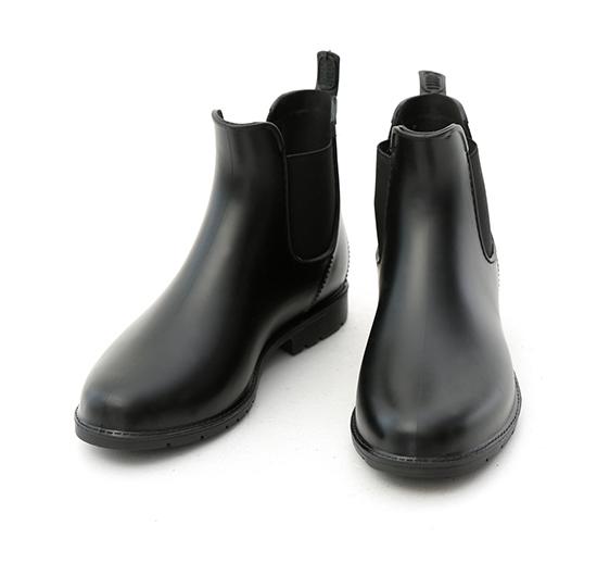 晴雨二穿.側鬆緊切爾西短雨靴 時尚黑