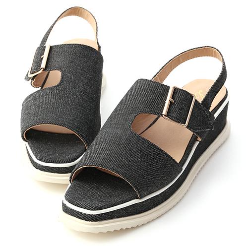 自信魅力.方頭釦環厚底涼鞋