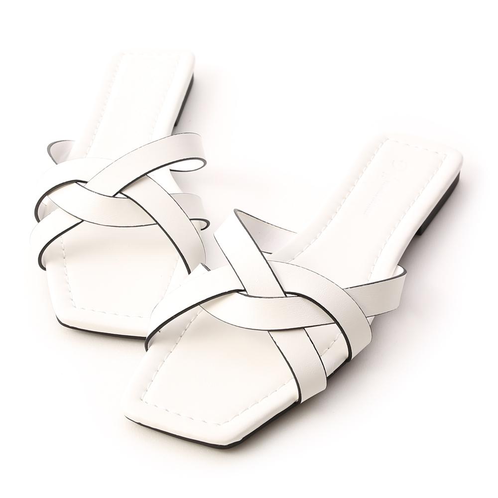 Square Toe Interlocked Strap Slides White