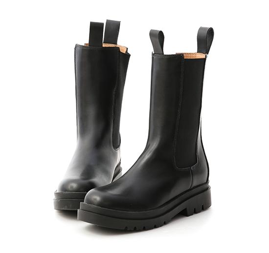 獨領時尚.加厚鞋底切爾西中筒靴 時尚黑
