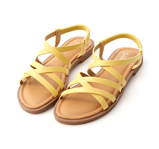 Soft Faux Leather Cross Straps Sandals Yellow