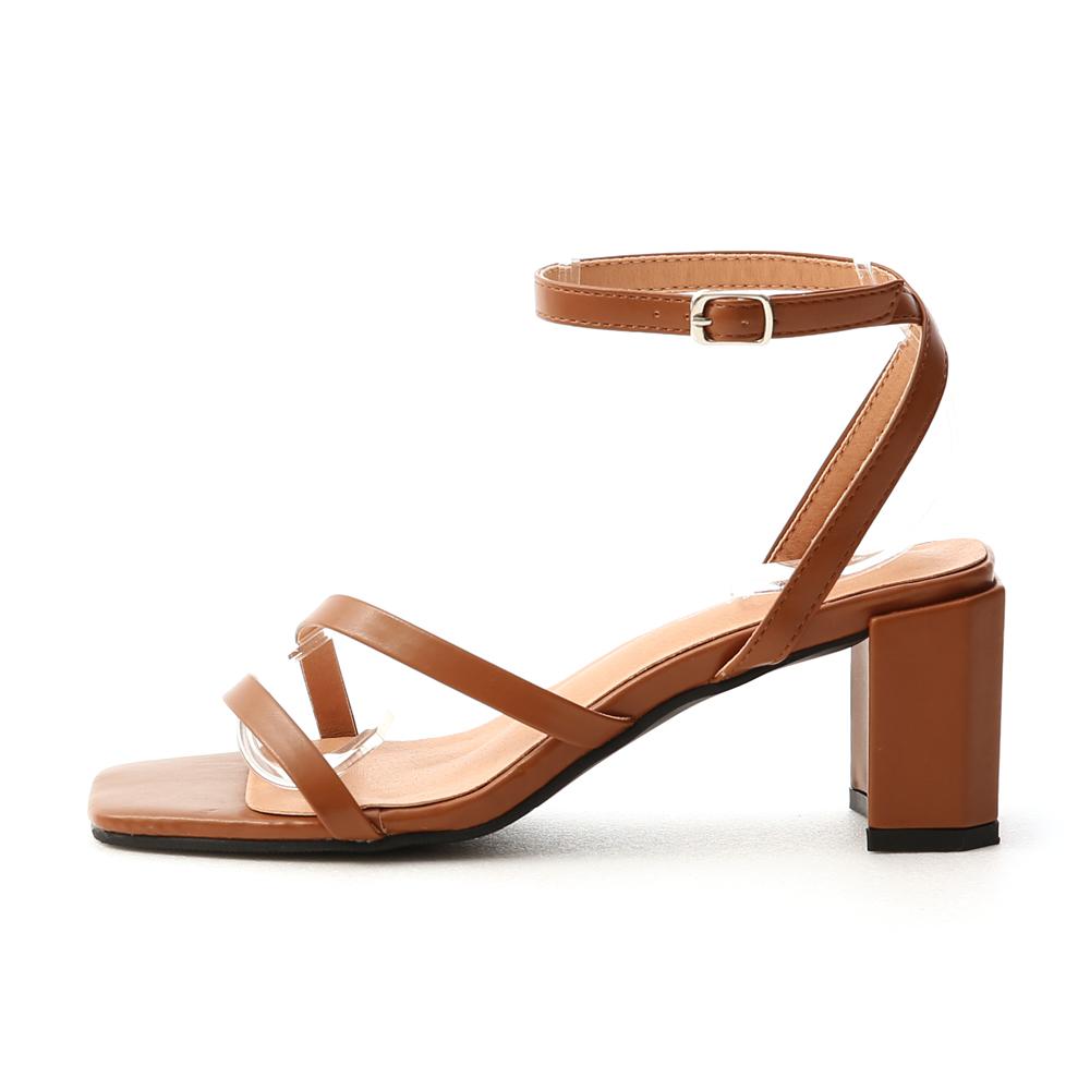 名模私著.一字斜帶繫踝高跟涼鞋 焦糖棕
