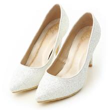滿滿亮片美型尖頭高跟鞋 新娘白