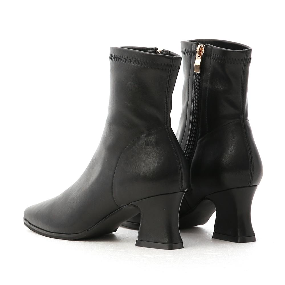 潮流專屬.復古方頭馬蹄跟襪靴 時尚黑
