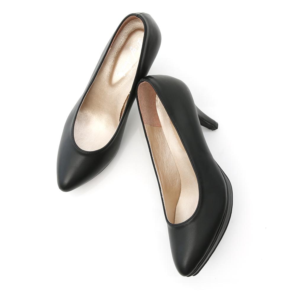 美腿比例.MIT素面尖頭8cm高跟鞋 時尚黑