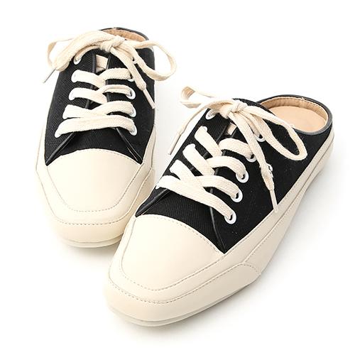 D+AF 隨性有型.小方頭帆布休閒穆勒鞋
