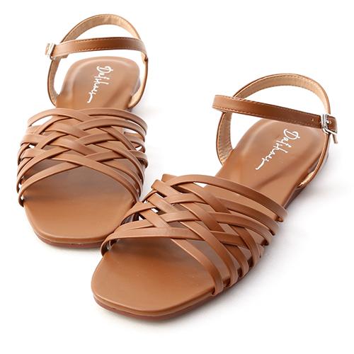 海島風情.多層次編織平底涼鞋