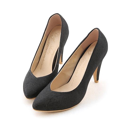 Lurex V-Cut Pointed Toe High Heels Glitter black