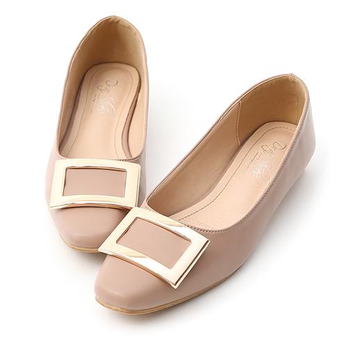 D+AF 典雅美型.大方釦微方頭娃娃鞋